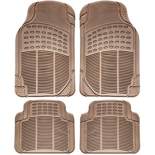 Heavy Duty All Weather Universal Fit Beige Floor Mats for Cars, SUVs, Trucks, and Vans (Set of 4)