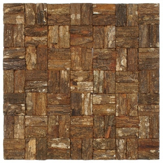 SomerTile 16.5x16.5-in Mahogany Tree Bark Wall Tile (Pack of 6)