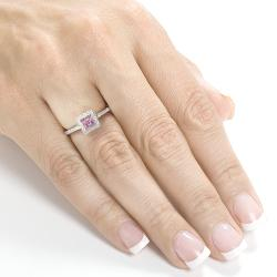 Annello 14k Gold 1/4ct TDW Pink Sapphire and Diamond Ring (H-I, I1-I2)