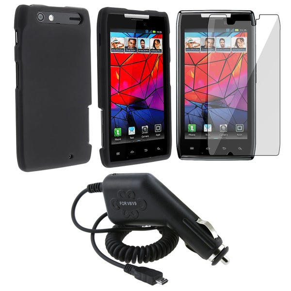 Black Case/ LCD Protector/ Car Charger for Motorola Droid RAZR XT910