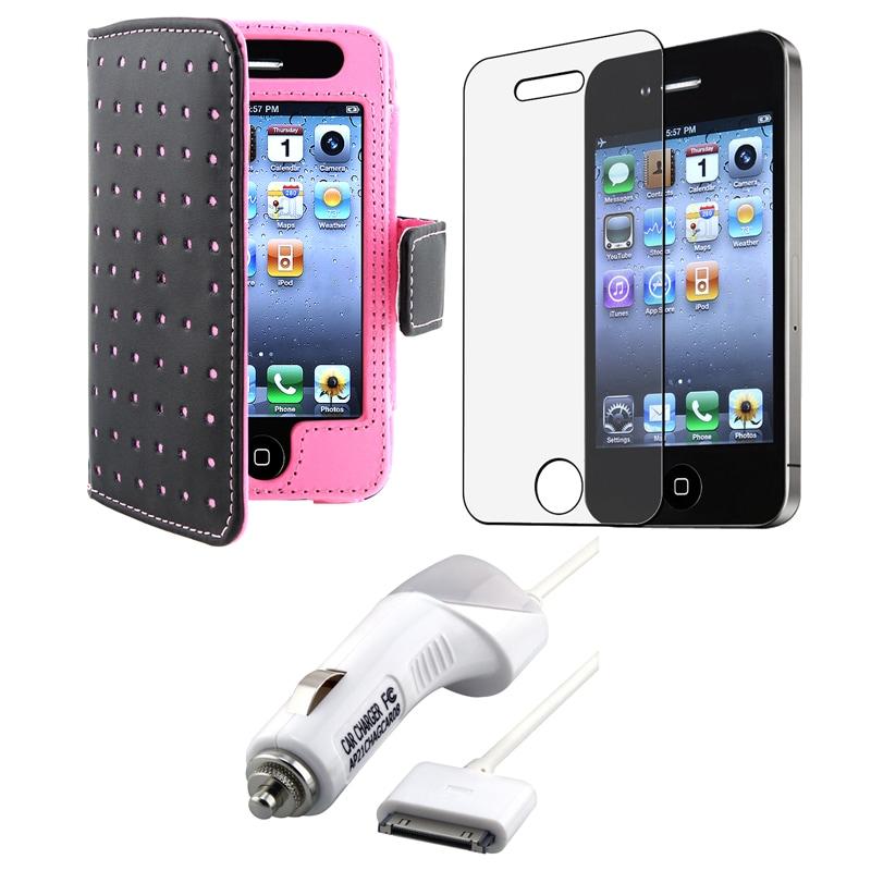 INSTEN Pink Dot Leather Phone Case Cover/ LCD Protector/ Car Charger for Apple iPhone 4S
