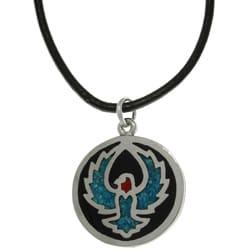 CGC Unisex High-polish Pewter Turquoise Stone Eagle/Phoenix Necklace
