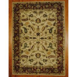 Indo Hand-tufted Mahal Ivory/ Rust Wool Rug (7'10 x 10'8)