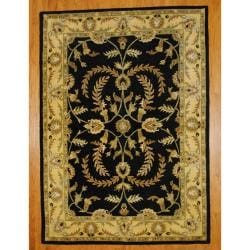 Indo Hand-tufted Mahal Black/ Gold Wool Rug (8' x 11')