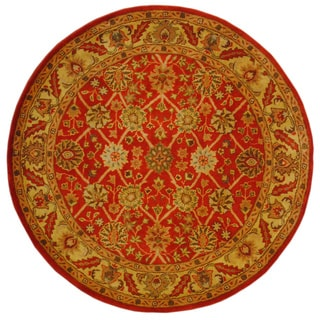 Indo Hand-tufted Mahal Rust/ Gold Wool Rug (6' Round)