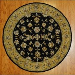 Indo Hand-tufted Mahal Black/ Gold Wool Rug (6' Round)