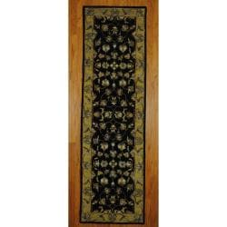 Indo Hand-tufted Mahal Black/ Gold Wool Rug (2'4 x 7'10)