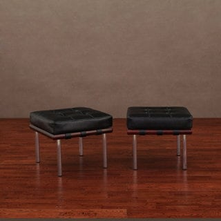 Andalucia Black Leather Ottoman (Set of 2)