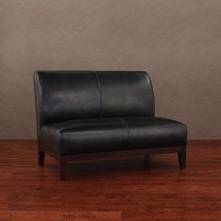 Cole Black Leather Loveseat