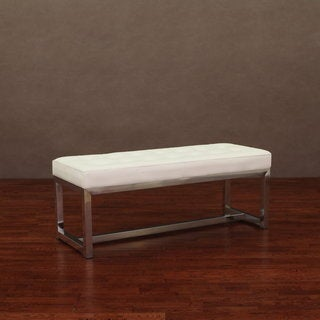 Liberty Modern White Leather Bench