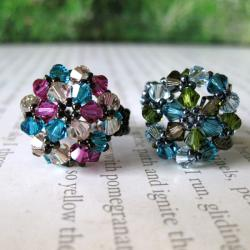 Multi-colored Crystal Beaded Flower Ring (USA)