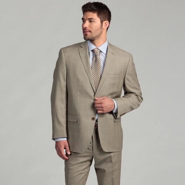 Joseph Abboud Men's Tan Glen Plaid 2-button Wool Suit