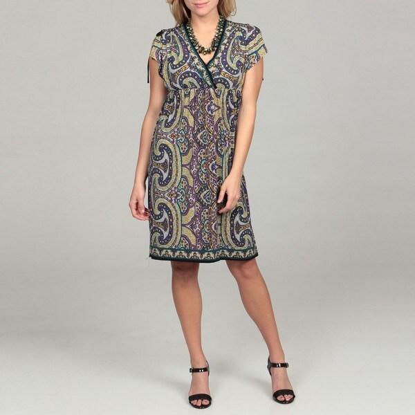 London Times Women's Paisley Kimono Jersey Dress