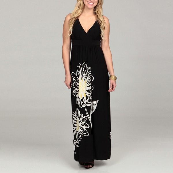 London Times Women's Printed Black Jersey Maxi Dress