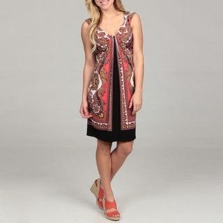 London Times Women's Black /Coral Size 10 Printed Matte Jersey Waterfall Dress