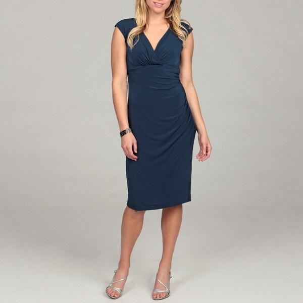London Times Women's Navy Jersey Sheath Dress