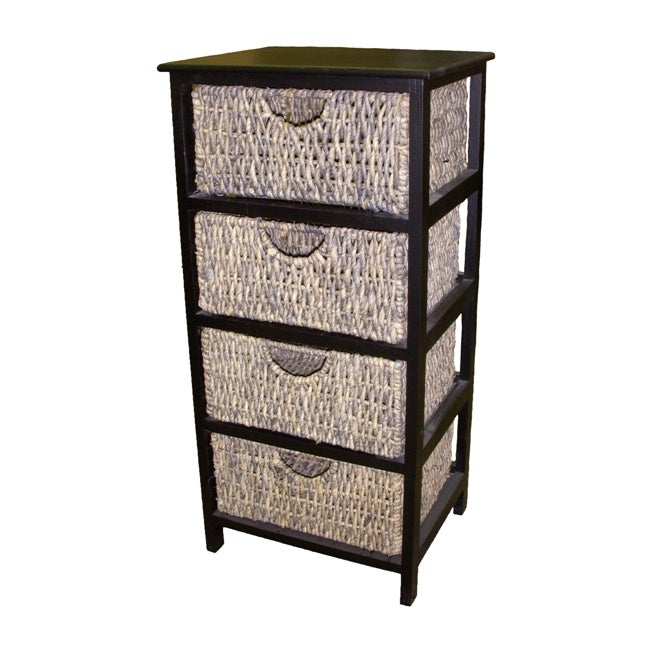 Compact Espresso Kitchen Bathroom Linen Storage 4 Drawer Wicker Basket Cabinet