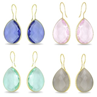 Miadora  22k Yellow Goldplated Silver Gemstone Earrings