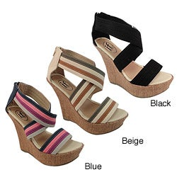 Carrini Women's Canvas Platform Wedge Sandals