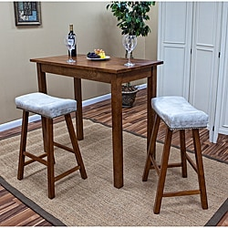 Walnut Florence 24-Inch Chamois Upholstered Counter Stool