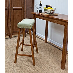 Walnut Florence 30-Inch Apple Green Upholstered Bar Stool