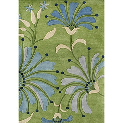 Handmade New Zeeland Wool Blend Light Green Area Rug (5 x 8)