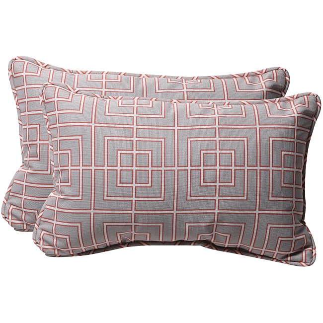 Pillow Perfect Decorative Gray/ Coral Geometric Outdoor Toss Pillows (Set of 2)