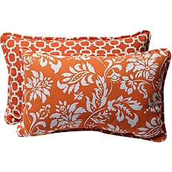 Pillow Perfect Decorative Orange/ White ReversibleOutdoor Toss Pillow (Set of 2)