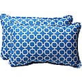Pillow Perfect Decorative Blue/ White Geometric Outdoor Toss Pillows (Set of 2)