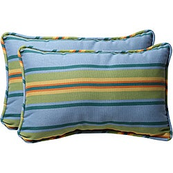 Pillow Perfect Blue/ Green Stripe Outdoor Toss Pillows (Set of 2)