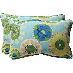 Pillow Perfect Blue/ Green Floral Outdoor Toss Pillows (Set of 2)