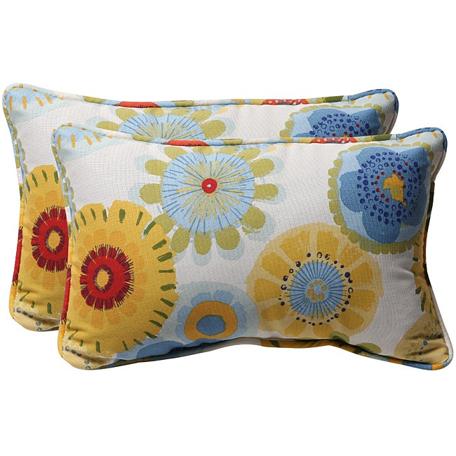 Pillow Perfect White/ Multi Floral Outdoor Toss Pillows (Set of 2)