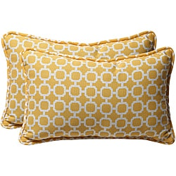Pillow Perfect Yellow/ White Geometric Outdoor Toss Pillows (Set of 2)