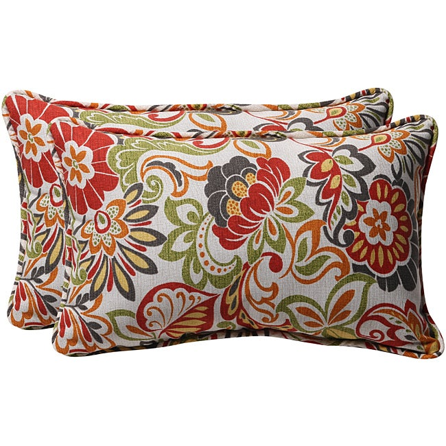 Pillow Perfect Green Multi Floral Outdoor Toss Pillows