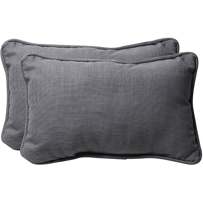 Pillow Perfect Grey Textured Solid Outdoor Toss Pillows (Set of 2)