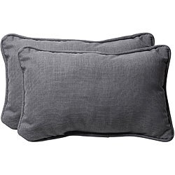 Pillow Perfect Grey Textured Solid Outdoor Toss Pillows (Set of 2)