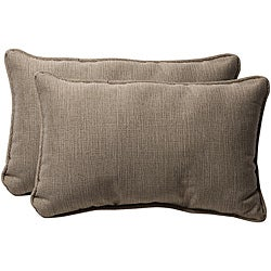 Pillow Perfect Taupe Textured Solid Outdoor Toss Pillows (Set of 2)