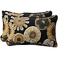Pillow Perfect Black/ Yellow Floral Outdoor Toss Pillows (Set of 2)