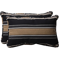 Pillow Perfect Black/ Tan Stripe Outdoor Toss Pillows (Set of 2)