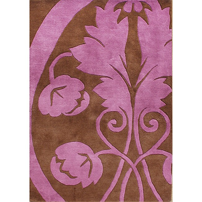 Hand-Tufted New Zealand Wool Blend Amber Brown Area Rug (5 x 8)