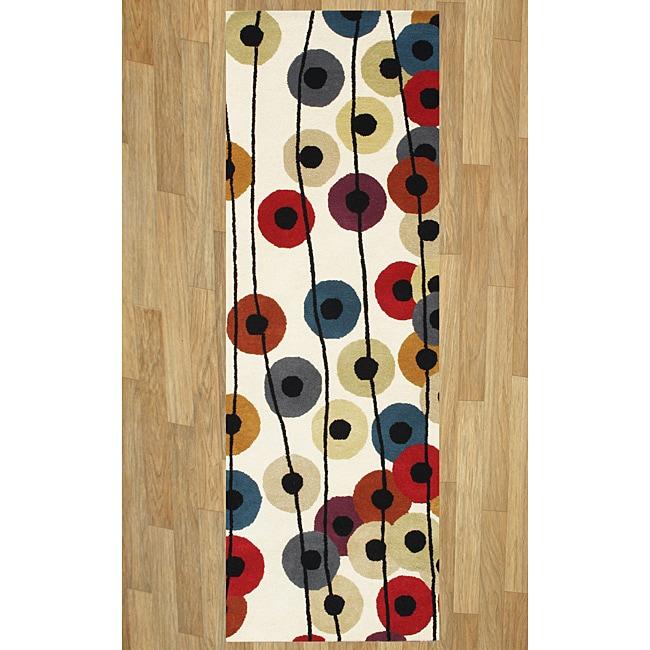 Alliyah Handmade Cream New Zealand Blend Wool Rug (2'6 x 8')