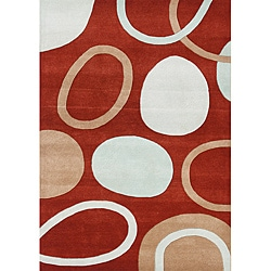 Alliyah Handmade Poppy Red New Zealand Blend Wool Rug (5' x 8')
