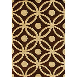 Handmade New Zealand Wool Blend Chocolate Brown Area Rug (5' x 8')
