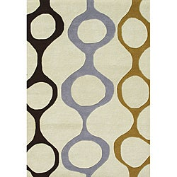 Alliyah Handmade Cream New Zealand Blend Wool Rug (5' x 8')