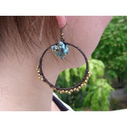 Goldtone Turquoise 'Sunshine' Hoop Earrings (Thailand)
