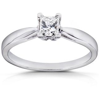 Annello 14k White Gold 1/4ct TDW Diamond Solitaire Engagement Ring (H-I, I1-I2)