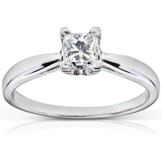 Annello 14k White Gold 1/2ct TDW Diamond Solitaire Engagement Ring (H-I, I1-I2)