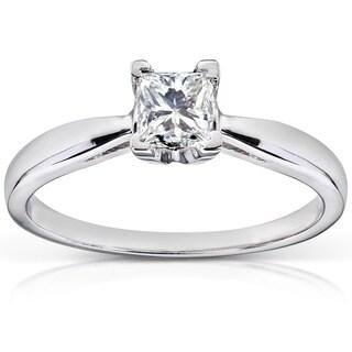 Annello 14k White Gold 1/2ct TDW Diamond Solitaire Engagement Ring (H-I, I1-I2)