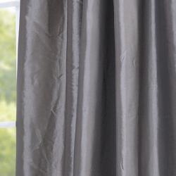 Platinum Embroidered Ruched Faux Silk Taffeta Header Curtain Panel