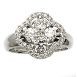 Beverly Hills Charm 14K White Gold 1ct TDW Diamond Clover Ring  (Size 7)